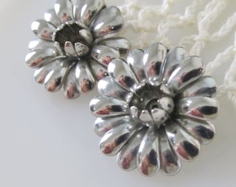 Statement Earrings,Vintage 60s, Floral, Chrome Silver Tone, Clip