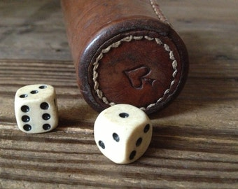 French Leather Dice Shaker Cup and Bakelite Dice