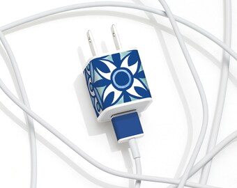 iPhone Charger Decal - Moroccan Design - Elegant tech accessory gift of Blue Moroccan Tile Pattern