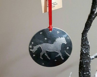 """Pewter """"Strong and Free"""" horse ornament"""