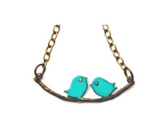 """Turquoise Love Birds Necklace Hand Painted 20"""" Antiqued Brass Chain"""