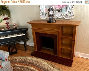 SALE Miniature Fireplace With Side Shelves, Brick Trim, Discounted Fireplace with Mantle Clock and Logs, Dollhouse Miniature, 1:12 Scale
