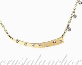 Designer Meirat 14k Yellow gold Natural VS-1 Diamond Movable necklace chain set