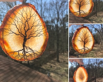 Aged Beauty Tree-of-Life Agate Slice Sun Catcher, One of a Kind SunCatcher, Sun Catcher, Gemstone, Wire Wrapped Tree, Window Decor, Home