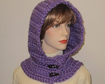 Bright Purple Crochet Hoodie, Fall Scarf, Hooded Scarf With Hood, Crochet Scarves, Chunky Knit Scarf, Oversized Scarf, Caroline B5-115