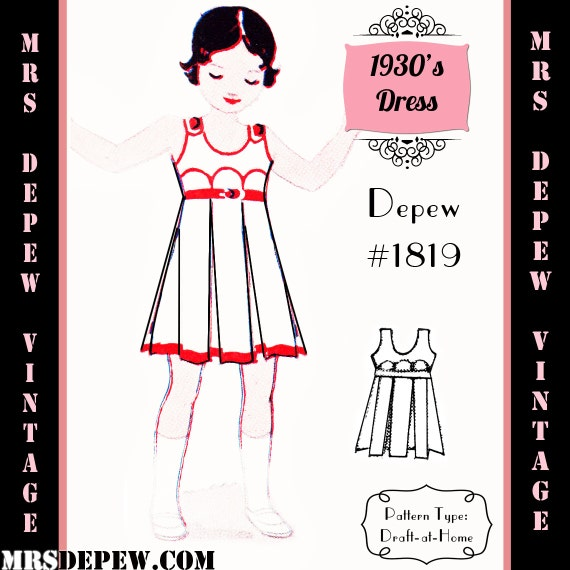 1930s Children's Fashion: Girls, Boys, Toddler, Baby Costumes 1930s Girls Dress or Apron - Any Size Depew 1819 Draft at Home Pattern -INSTANT DOWNLOAD-Vintage Sewing Pattern 1930s Girls Dress or Apron - Any Size Depew 1819 Draft at Home Pattern -INSTANT DOWNLOAD- $7.50 AT vintagedancer.com