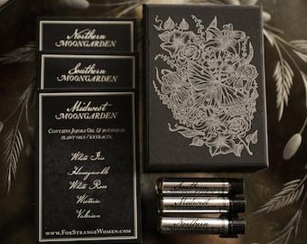 Moongarden perfume sample set - Natural Floral Perfume Oil - Iris, Rose, Lily, Lilac, Lavender Perfume Oil Set - Floral Powdery Perfume