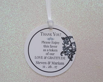 Elegant Wedding Favor Tags *Wedding Thank You Favor Tags *Black & White Favor Tags *Floral Filagree Tags *Personalized and Choice of Colors*