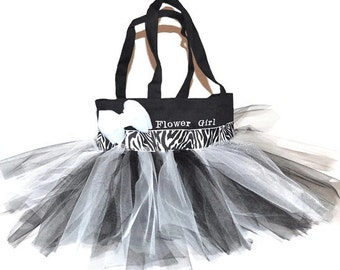 Tutu Bag, Dance Bag, Black and White Zebra Ribbon with Free Monogram Name Embroidered on the Bag. Handbags, Dance Bag, Flower Girl Bag