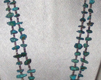 Vintage Native American Two Strand Turquoise Heishi Bead Necklace