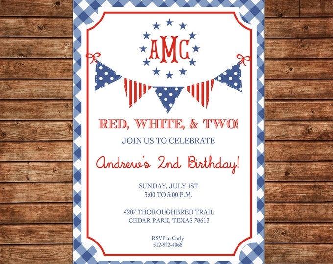 Invitation Red White Two Gingham Patriotic Monogram Birthday Party - Can personalize colors /wording - Printable File or Printed Cards