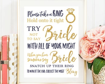 Bridal Shower Game Don't Say Bride Navy and Gold Glitter Bridal Shower Games Navy Don't Say Bride Game Gold Don't say Bride BR13