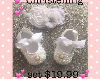 Baby Soft Crib Shoes*Wedding*Baptism*Newborn Girls Infants Shoes*Christening Shoes*Baptism Girls Shoes*Zapatos Bebes Con Perlas*Pearl Shoes