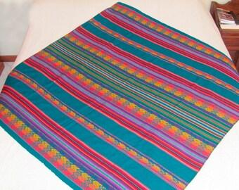 Multi-purpose blanket, blanket big Traditional, Blanket Native South American Textile Peru Manta loom fabric