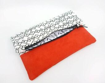 Boho bag, Fold over clutch bag, Orange vegan leather bag, Summer handbag,  Pochette, Bohemian foldover bag, Tribal print bag, Sac ete