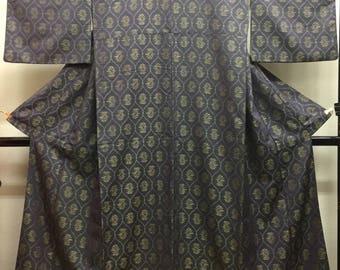 "KIMONO silk wool  ""flower in Tatewaku Steam "" woven fabric with silk lining Japanese kimono"