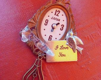 Cinderella brooch -Romantic Valentines Gift - Vintage toy clock parts