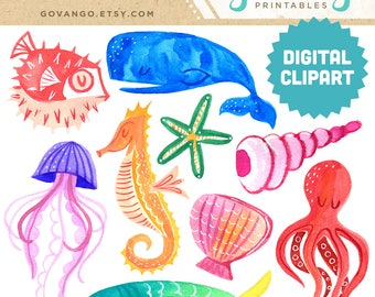 MARINE LIFE Digital Clipart Instant Download Illustration Watercolor Ocean Sea Beach Summer Animal Aquarium Fish Octopus Seahorse Starfish