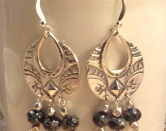 Black Czech Glass Chandelier Earrings