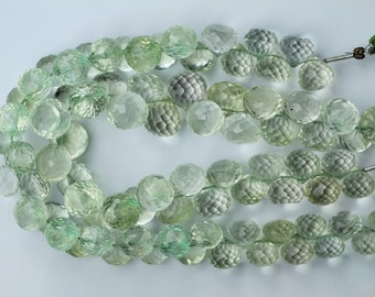 8 inch long strand faceted onion GREEN AMETHYST briolette beads 8 -- 11 mm