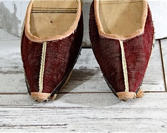 Antique Children Shoes Edwardian Hand Carved Wood Clogs Early Coarse Textiles Mules Slippers 1900's
