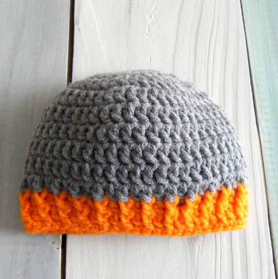 Grey and Orange Crochet Baby Boy Hat, Newborn Baby Hat, Photo Prop Hat, Winter Boy Hat, Crochet Winter Hat, Toddler Winter Hat, Boy Hat