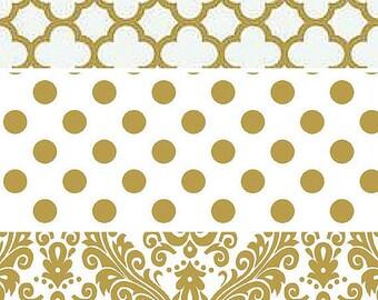 Table Runner-Gold White Table Wedding Runner-Bridal Shower-Baby Shower Decor-Quaterfoil-Damask-Dot-Table Linens-Gold Wedding Party Decor