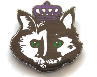 Cat Enamel Pin, Hard Enamel Pin, Small Brooch, cloisonne pin, Crowned Cat, Princess Kitty Cat, Kitten Pins Animal Pins CAT lapel Pin Game