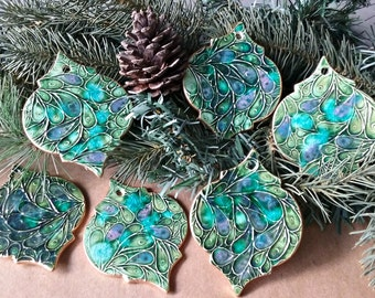SALE Seconds 6 Ceramic Christmas Ornaments edged in gold