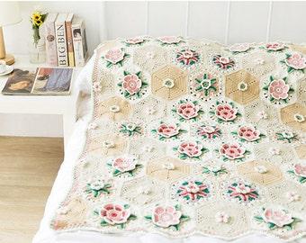 Throw Blanket ,Crochet blanket,Crochet Afghan,handmade blanket -Frida flower blanket