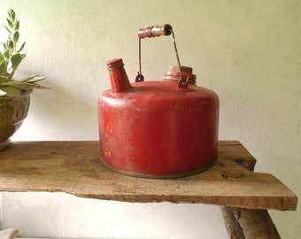 Vintage Red Gas Can – Old Firecracker Red & Yellow Paint Spatters -Petroliana Automobilia Collector /0749