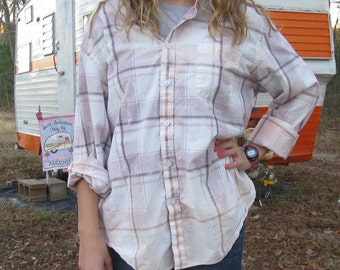 Plaid shirt - unique distressed bleached dipped recycled - vintage worn style - Size XL (men's / unisex) (#S53)
