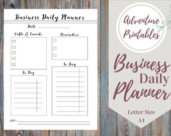 Business Printable Planner  PDF Form, Productivity  Planner, Daily Business Plan- Sizes A4 ans Letter Size