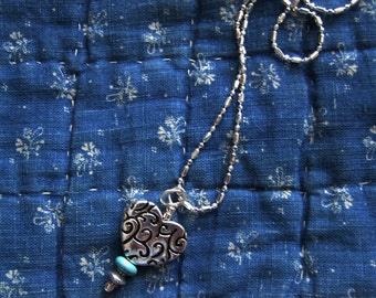 Silver heart, turquoise necklace