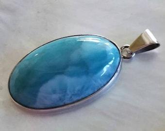 Deep Caribbean Blue Natural AAA Larimar gemstone sterling silver pendant