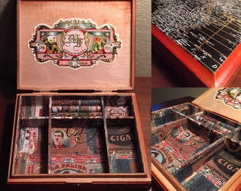 Men's Jewelry Box,Upcycled Cigar Box,Decoupaged Jewelry Box,Relined,My Father Cigar box,Wooden Jewelry box,Upcycled Jewelry box