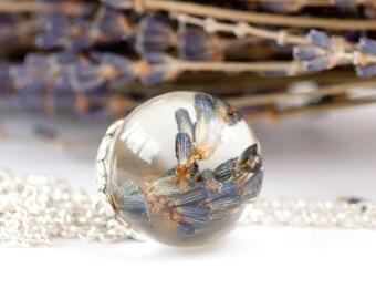 Lavender pendant necklace - Lavender necklace - Resin chain necklace - Lavender wedding gift - Lavender bridal necklace - Lavender gift