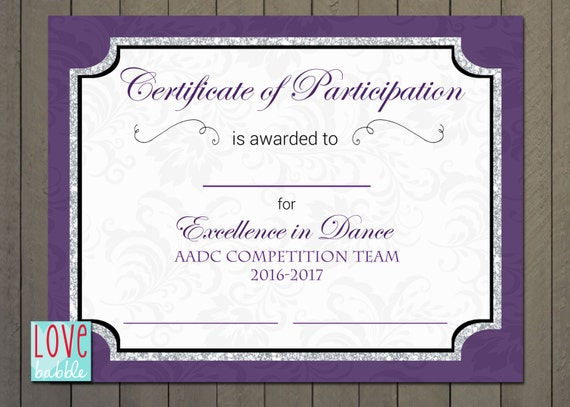 Certificate of Participation Dance Cheer Star Award