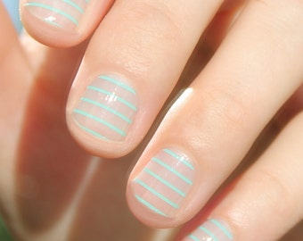 Mint Stripes Nail Wraps