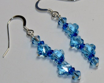 Ladies handmade dangle Swarovski crystal blue flowers with blue bicone Swarovski crystals earrings with sterling silver earwires