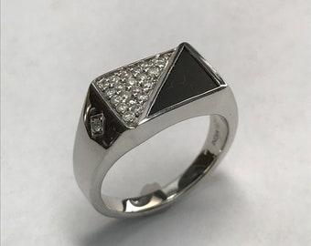 Sterling Silver Inlaid Onyx & Diamond Ring