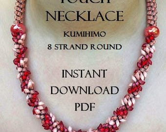 Kumihimo Necklace Pattern - Salmon Touch Necklace - Instant Downloadable Pattern PDF - Kumihimo Pattern - 8 Strand Round - Intermediate
