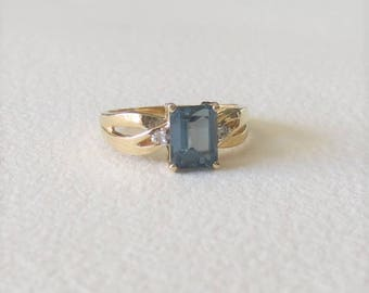 """USA London Blue Topaz Genuine Emerald Cut Ring with Diamonds set in 14kt Yellow Gold """"One of a Kind"""""""