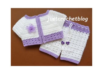 Crochet Short Jacket and Pants Baby Crochet Pattern (DOWNLOAD) 83BFJC