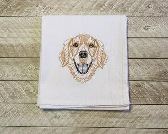 Flour Sack Towel-Golden Retriever