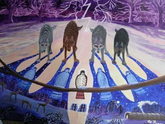 Wolf Art Native American Art Indian Art Art Prints Hawk