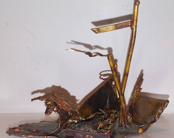 """Vintage Sculpture Welded Copper Fishing Boat signed W. Catts 3 1/2"""" 1976"""