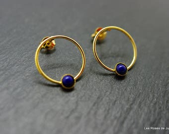 Earrings graphic circle, gold earrings, gold filled