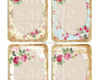 Instant Download -Shabby Chic Vintage 11 -   Printable Digital Collage Sheet  - Romantic Downloads Hang Tags Scrapbooking