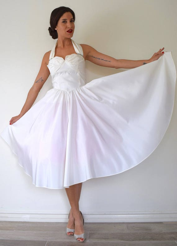 Vintage 80s does 50s White Taffeta Clam Shell Bust New Look Style Full Skirt Halter Back Party Dress with Rhinestone Accents (size xs, s)
